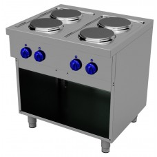 Electric cooking range with 4 round plates - Open stand, Primax Chef serie Safari MG0702
