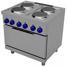 Electric cooking range with 4 round plates - 2/1 GN electric oven, Primax Chef serie Safari MG0704