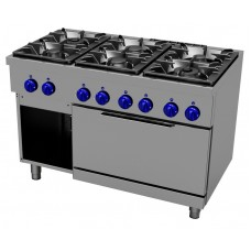 Gas cooking range 6 burners - 2/1 GN electric oven, Primax Chef serie Safari MG0777