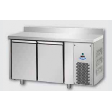 2 doors Low Temperature Stainless Steel GN 1/1 Refrigerated Counter with 100 mm rear riser working top, Tecnodom TF02MIDBTAL