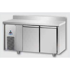 2 doors Low Temperature Stainless Steel GN 1/1 Refrigerated Counter with 100 mm rear riser working top and unit on the left side, Tecnodom TF02MIDBTSXAL