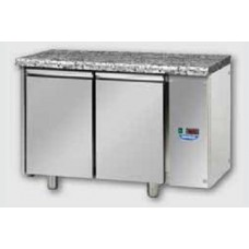 2 doors Low Temperature Stainless Steel GN 1/1 Refrigerated Counter with 100 mm rear riser working top and unit on the left side, Tecnodom 2 doors Stainless Steel GN 1/1 Refrigerated Counter with Granite working top, designed for Low Temperature remote co