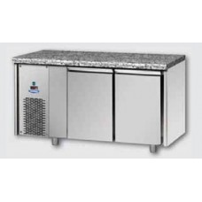 2 doors Low Temperature Stainless Steel GN 1/1 Refrigerated Counter with Granite working top and unit on the left side, Tecnodom TF02MIDBTSXGRA