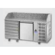 1 door Refrigerated Pizza Counter GN 1/1 with 6 neutral drawers and granite working top, Tecnodom PZ02EKOC6