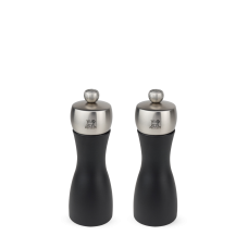 Duo of salt and pepper mills in wood and stainless steel, black, 15 см, 17132, DUO Fidji, Peugeot