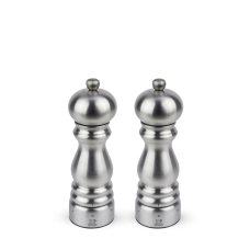 Duo of u'Select manual salt and pepper mills in stainless steel, 18 cm, 32470, Paris Chef, Peugeot
