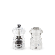 Duo of manual salt cellar and pepper mill, acrylic, 9 cm, 34580, Duo Nancy, Peugeot
