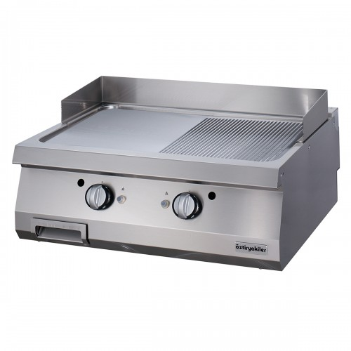 Full Module 1/2 Smooth & 1/2 Ribbed Gas Grill, Chromium Plated, OGG 8070 1/2 N, series 700, Ozti, 7864.N1.80703.16C