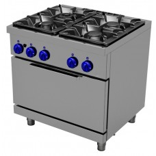 Gas cooking range4 burners - Open stand, 2/1 GN gas oven, Primax Chef serie Safari MG0666
