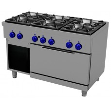Gas cooking range4 burners, 2/1 GN gas oven, Primax Chef serie Safari MG0667