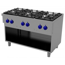 Gas cooking range 6 burners, open stand, Primax Chef serie Safari MG0669
