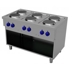 Electric cooking range with 6 round plates - Open stand, Primax Chef serie Safari MG0703