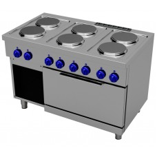 Electric cooking range with 6 round plates - 2/1 GN electric oven, Primax Chef serie Safari MG0705