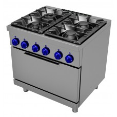Gas cooking range 4 burners - 2/1 GN electric oven, Primax Chef serie Safari MG0776