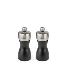 Duo of salt and pepper mills in wood and stainless steel, black, 12 cm, 21283, DUO Fidji, Peugeot