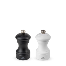 Duo of manual salt and pepper mills, beech wood, black and white, 10 cm, 24291, Bistro, Peugeot