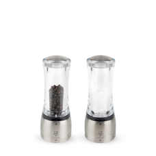 Duo of manual salt and pepper mills, stainless steel, 16 cm, 25427, Daman, Peugeot
