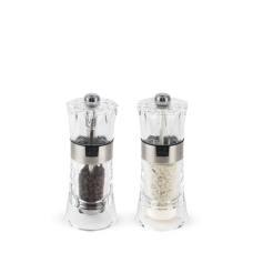 Duo of manual wet salt and pepper mills, acrylic, 14 cm, 34573, Oslo, Peugeot