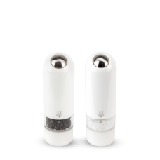 Duo of electric salt and pepper mills in white ABS, 17 cm, 2/27667, Zeli, Peugeot