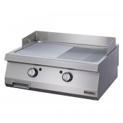 Full Module 1/2 Smooth & 1/2 Ribbed Electric Grill, chrome plated, OGE 8070 1/2 N C, series 700, Ozti, 7864.N1.80703.14C