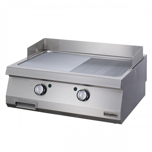 Full Module 1/2 Smooth & 1/2 Ribbed Electric Grill, chrome plated, OGE 8070 1/2 N C, серии 700, Ozti, 7864.N1.80703.14C